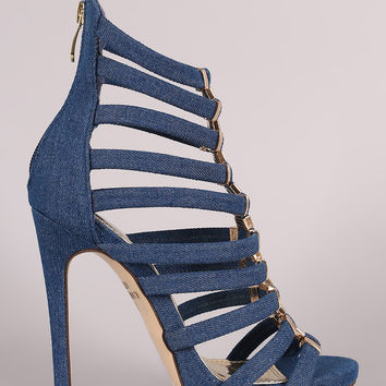 Liliana Denim Hardware Accent Strappy Stiletto Heel