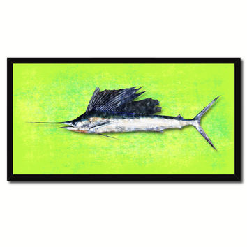 Sailfish Fish Green Canvas Print Picture Frame Gifts Home Decor Nautical Wall Art