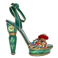 Dolce & Gabbana Green Leather Crystal Carretto Platform Shoes