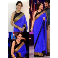 Madhuri Dixit Georgette Border Work Plain Blue Bollywood Style Saree - 15
