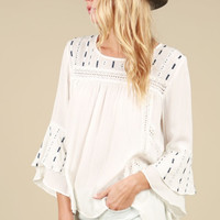 Ivory Peasant Top with Geometric Embroidery