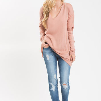 Delaney Pink V-Neck Sweater