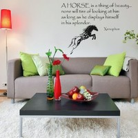 Housewares Vinyl Decal Words Quote Animals Horse Is a Thing of Beauty.. Xenophone Home Wall Art Decor Removable Stylish Sticker Mural Unique Design for Any Room