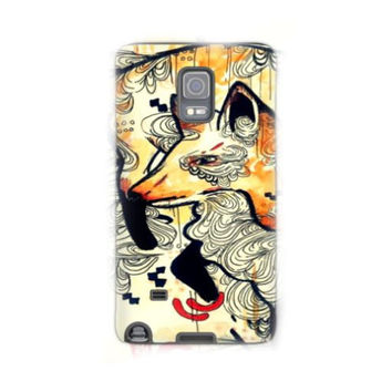 Note 4 - Note 4 phone case  - Cell Phone case - Phone cover - Fox phone case - Fox art - Animal art - Animal phone case
