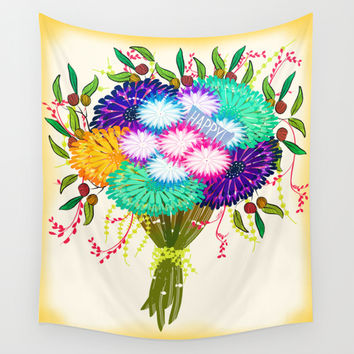 BOUQUET FLOWERS Wall Tapestry by Famenxt