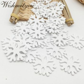 WISHMETYOU 36pcs 30mm Wooden Snowflake For Diy Christmas Party Decor Scrapbooking White Wood Slices Crafts Accessories Finding