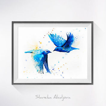 Western Bluebird watercolor painting print, Western Bluebird art, Flower watercolor, animal illustration, bird illustration, bird art,