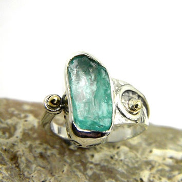 Apatite ring sterling silver rough gemstone ring - cocktail ring, raw apatite stone ring size 7, gold and silver ring artisan jewelry