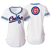 5th & Ocean by New Era Chicago Cubs Women's White Slub Jersey T-Shirt