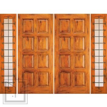Prehung Double Door with Two Sidelites, Entry, Knotty Alder 8-Panel