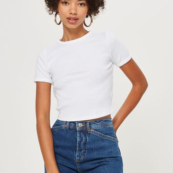 Short Sleeve Scallop T-Shirt | Topshop