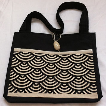 Japanese waves Handmade Tote Bag