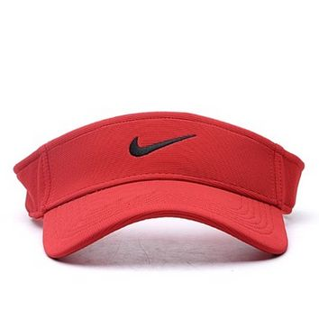 NIKE Fashion New Embroidery Hook Women Men Hollow Sun Protection Cap Hat Red