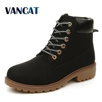 VANCAT Big Size Men Ankle Boots pu Waterproof Casual Work Safety Boots Winter Shoes Warm Fur Male Shoes Winter Snow Men Boots