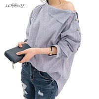Women Striped Blouses Sexy Skew Collar Batwing Long Sleeve Loose Blue Blouse 2018 Women Spring Button Casual Shirt Tops Bts Kpop