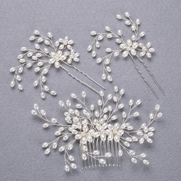 3pc fashion pearl bride headdress hair jewelry FORSEVEN Silver Handmade combs Wedding pearl hair accessorie Hair pin E17082-21