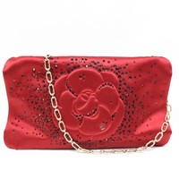 Auth CHANEL Chain Shoulder Bag Satin Red Used Vintage Women