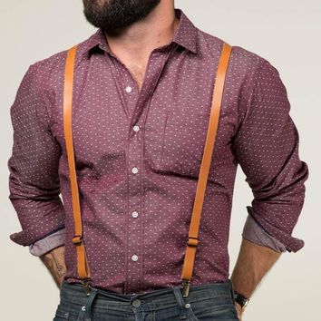 Tan Leather Skinny Suspenders