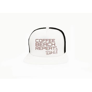 Coffee Beach Tequila Repeat Trucker Hat