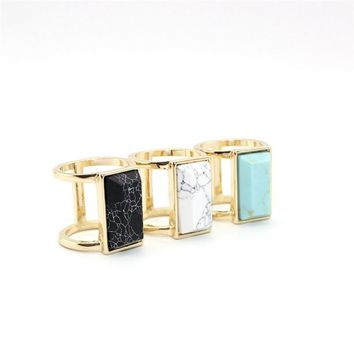 Rectangle Marble Ring