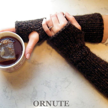 Extra long Fingerless Gloves Long Chunky Fingerless gloves Hand Knit Wrist Warmer Brown Outlander Gloves No Fingers Arm Warmer READY TO SHIP