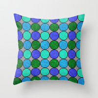 Polka Brights (blue/green) Throw Pillow by Natalie Baca
