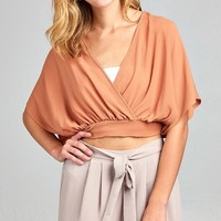 Front Wrap Crop Top Bow Tie Back