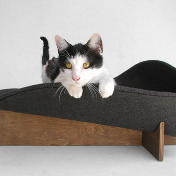 Made-to-order midcentury mod cat bed in black chunky weave