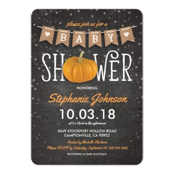 Fall Pumpkin Rustic Chalkboard Baby Shower Card