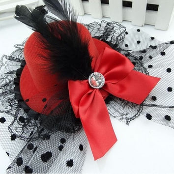 Party Gift Mini Top Hat Feather Bowknot Lace Fascinator Hair Clip Accessory