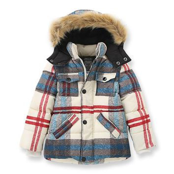 Winter Jacket Boys Thick Coat Faux Fur Hooded Collar Teenage Boys Jackets Warm Kids Outerwear Brand Children's Clothing 2-10Yrs