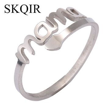 SKQIR Vintage Silver Love MAMA Rings High Stainless Steel Cuff Ring Women Jewelry For Birthday Mother's Day Gift Open Mom Ring
