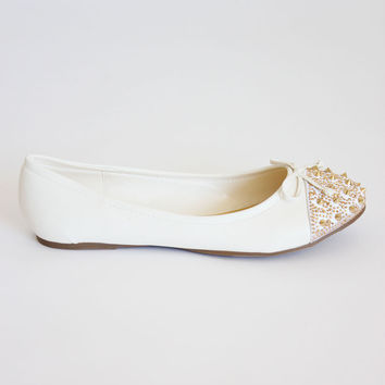 Gold Studded Spike White Flats