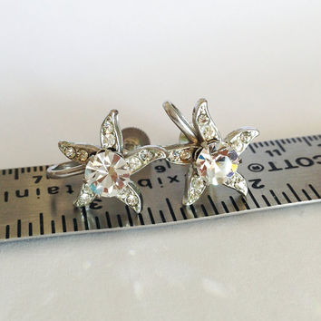 Vintage Rhinestone Starfish Screw Back Earrings