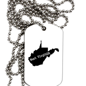 TooLoud West Virginia - United States Shape Adult Dog Tag Chain Necklace