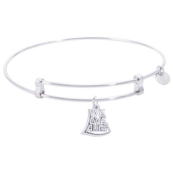 Sterling Silver Confident Bangle Bracelet With Live,Love,Laugh Charm