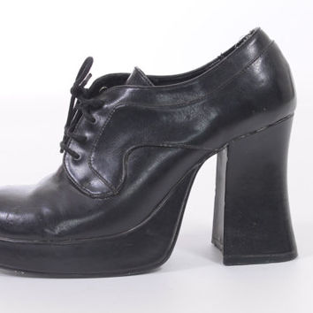 90s Black Vegan Leather Chunky Platform High Heeled Lace Up Oxford Shoes Club Kid Hipster Goth Womens Size US 7.5 UK 5.5 EUR 37