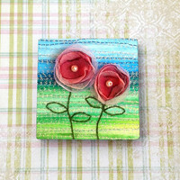 Red Fabric Flowers Original Art Print 2x2 Inch Ceramic Tile Magnet for Refrigerator, Fridge, Cubicle Decor, Wedding & Shower Favors