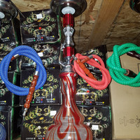 Red Swirls Red Neck Hookah Piece
