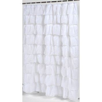 Carnation Home Fashions Carmen Crushed Voile Ruffled Tier Fabric Shower Curtain | Wayfair