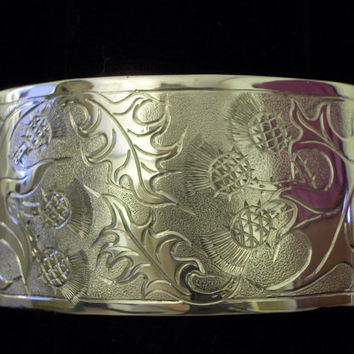 "HE THISTLE BRAC Sterling Silver 18GA 6""x1 1/4"" This wide cuff has a Scottish thistle pattern engraved . An average size Ladies wrist,."