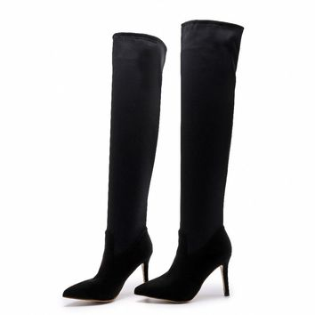 Tall Microfiber High Heeled Boots