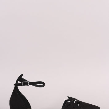 Suede Pointy Toe Cutout Ankle Strap Flat
