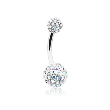 Pave Half Dome Diamond Cluster Belly Button Ring 14ga Navel Ring Body Jewelry