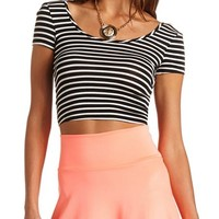Bow-Back Striped Crop Top: Charlotte Russe