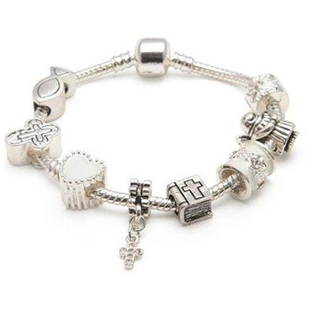 AUGUAU Liberty Charms Girls First Holy Communion/Confirmation Silver Plated Charm Bracelet Gift Box (17)