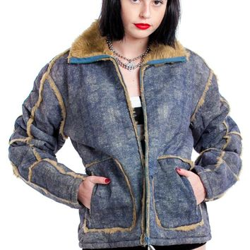 Vintage Y2K Faux Denim Vegan Fuzzy Jacket - One Size Fits Many