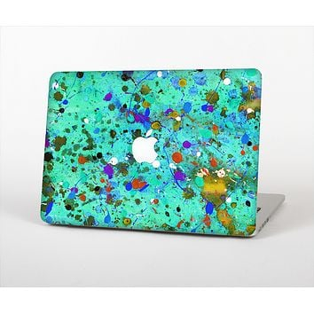 The Trendy Green with Splattered Paint Droplets Skin Set for the Apple MacBook Air 11""