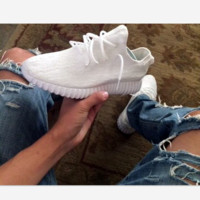 """Adidas"" Women Yeezy Boost Running Sneakers Sports Shoes White"