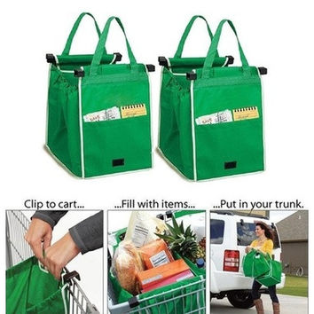 Hot Sale Grab Bag Clips To Your Cart Recycle Bag Reusable Ecofriendly Shopping Bag (Color: Green) [9145130182]